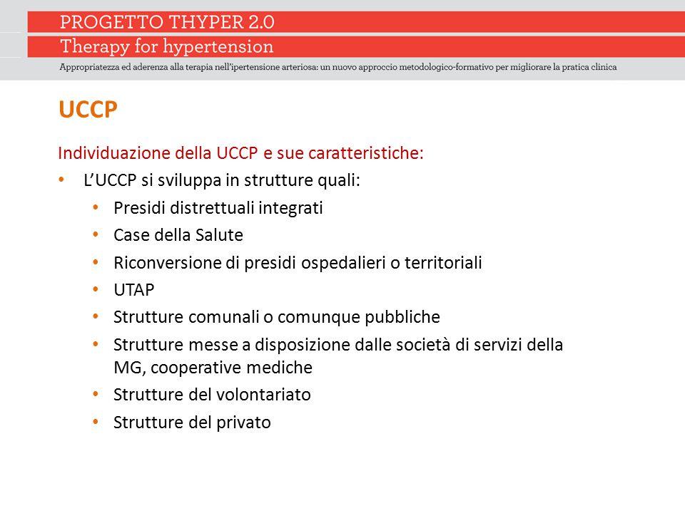 UCCP Individuazione della UCCP e sue caratteristiche: L'UCCP si sviluppa in strutture quali: Presidi distrettuali integrati Case della Salute Riconver