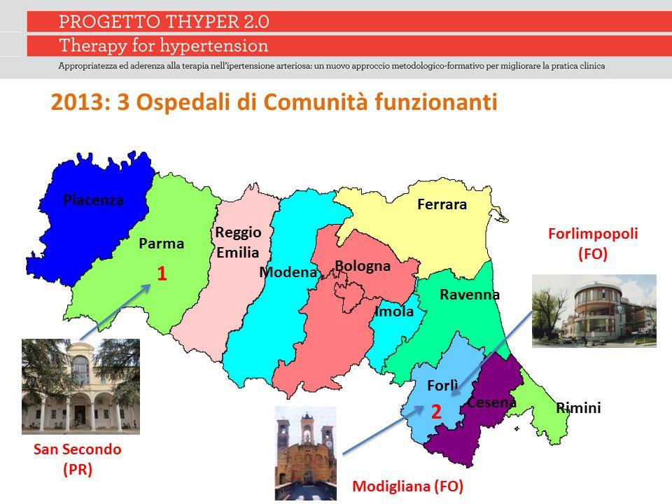 Piacenza Parma 1 Reggio Emilia Modena Ferrara Ravenna Imola Forlì 2 Rimini Bologna Cesena 2013: 3 Ospedali di Comunità funzionanti San Secondo (PR) Fo