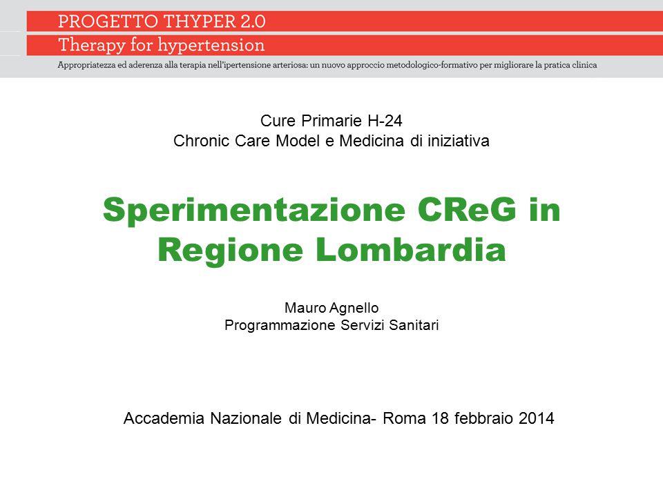 Sperimentazione CReG in Regione Lombardia Mauro Agnello Programmazione Servizi Sanitari Accademia Nazionale di Medicina- Roma 18 febbraio 2014 Cure Pr