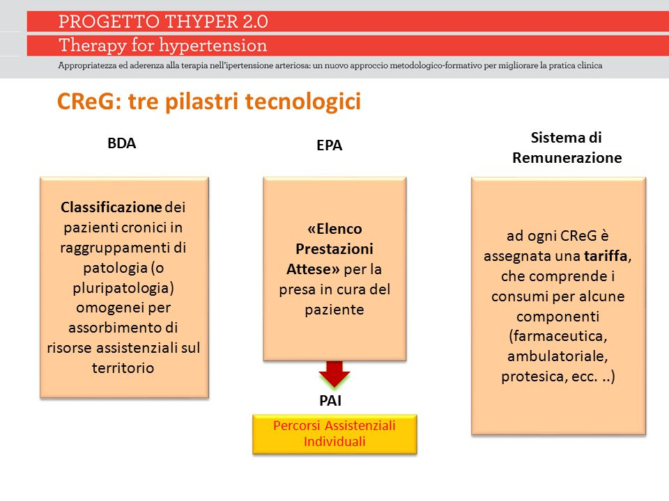 CReG: tre pilastri tecnologici Sistema di Remunerazione EPA BDA Percorsi Assistenziali Individuali PAI Classificazione dei pazienti cronici in raggrup