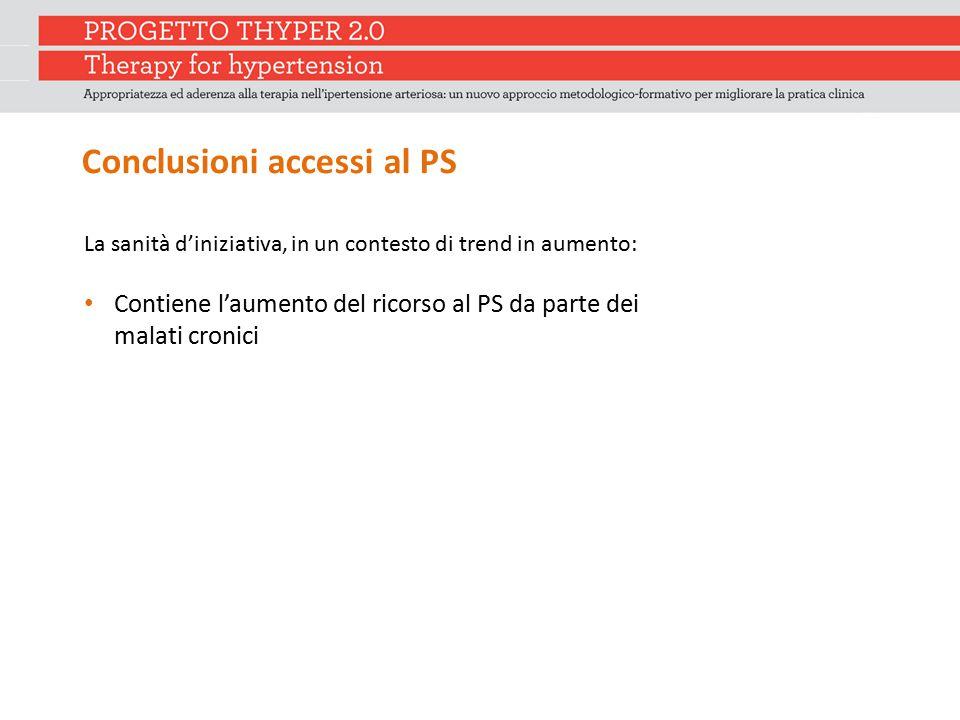 Conclusioni accessi al PS La sanità d'iniziativa, in un contesto di trend in aumento: Contiene l'aumento del ricorso al PS da parte dei malati cronici