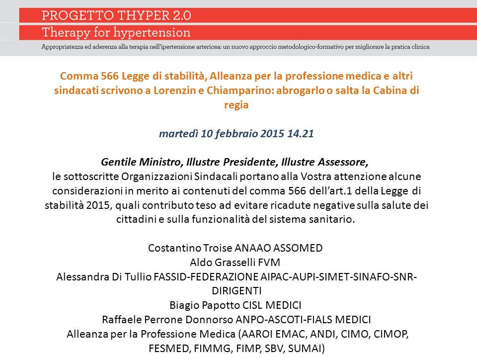 Comma 566 Legge di stabilità, Alleanza per la professione medica e altri sindacati scrivono a Lorenzin e Chiamparino: abrogarlo o salta la Cabina di r