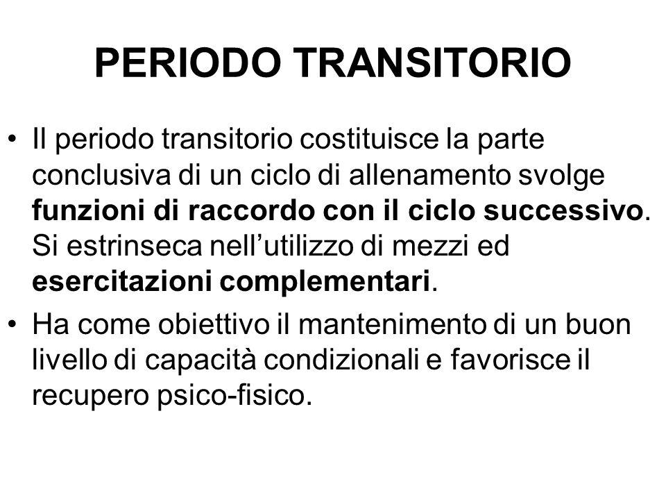 PERIODO TRANSITORIO Il periodo transitorio costituisce la parte conclusiva di un ciclo di allenamento svolge funzioni di raccordo con il ciclo successivo.