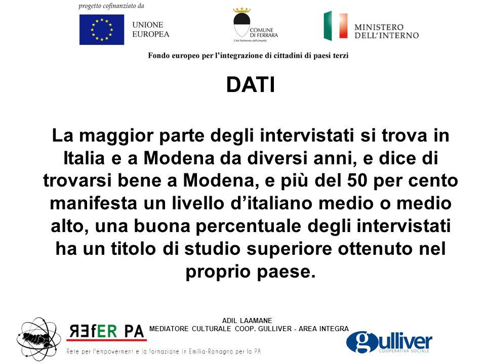 DATI La maggior parte degli intervistati si trova in Italia e a Modena da diversi anni, e dice di trovarsi bene a Modena, e più del 50 per cento manifesta un livello d'italiano medio o medio alto, una buona percentuale degli intervistati ha un titolo di studio superiore ottenuto nel proprio paese.