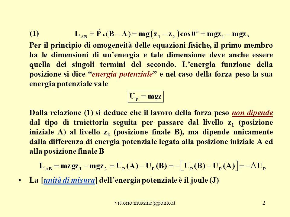 vittorio.mussino@polito.it2 Per il principio di omogeneità delle equazioni fisiche, il primo membro ha le dimensioni di un'energia e tale dimensione deve anche essere quella dei singoli termini del secondo.