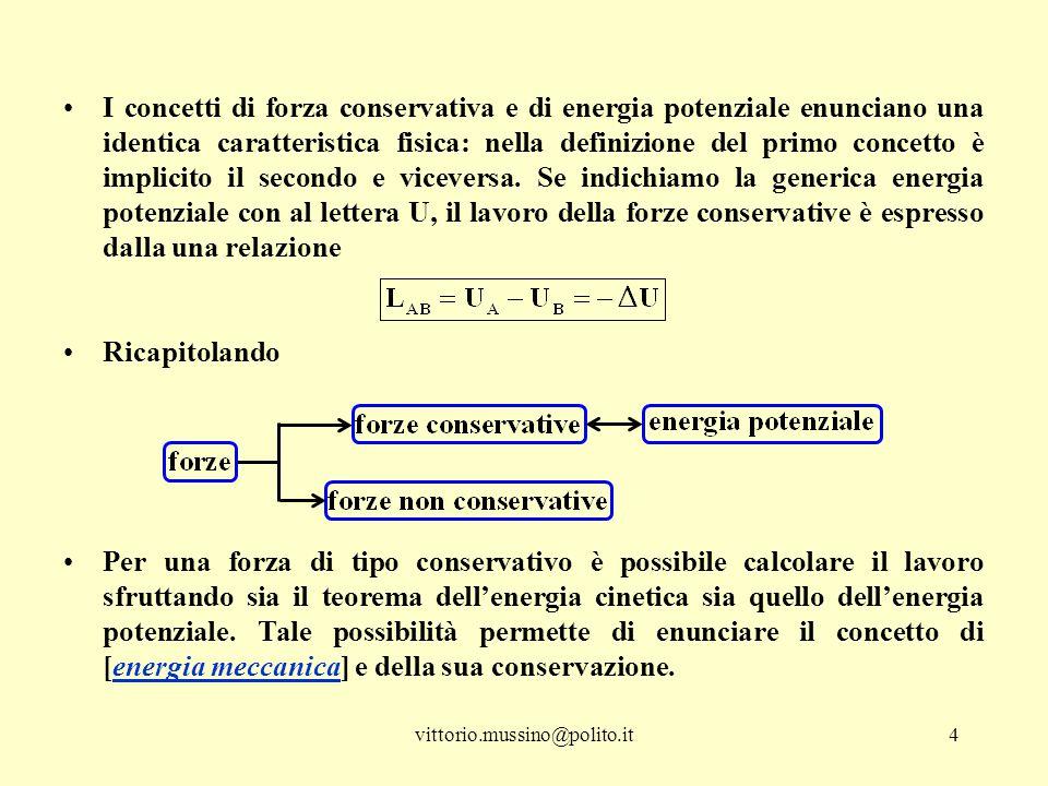 vittorio.mussino@polito.it4 I concetti di forza conservativa e di energia potenziale enunciano una identica caratteristica fisica: nella definizione del primo concetto è implicito il secondo e viceversa.