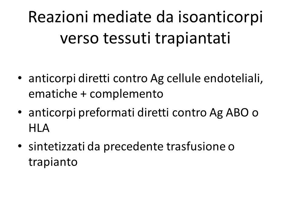 Reazioni mediate da isoanticorpi verso tessuti trapiantati anticorpi diretti contro Ag cellule endoteliali, ematiche + complemento anticorpi preformati diretti contro Ag ABO o HLA sintetizzati da precedente trasfusione o trapianto