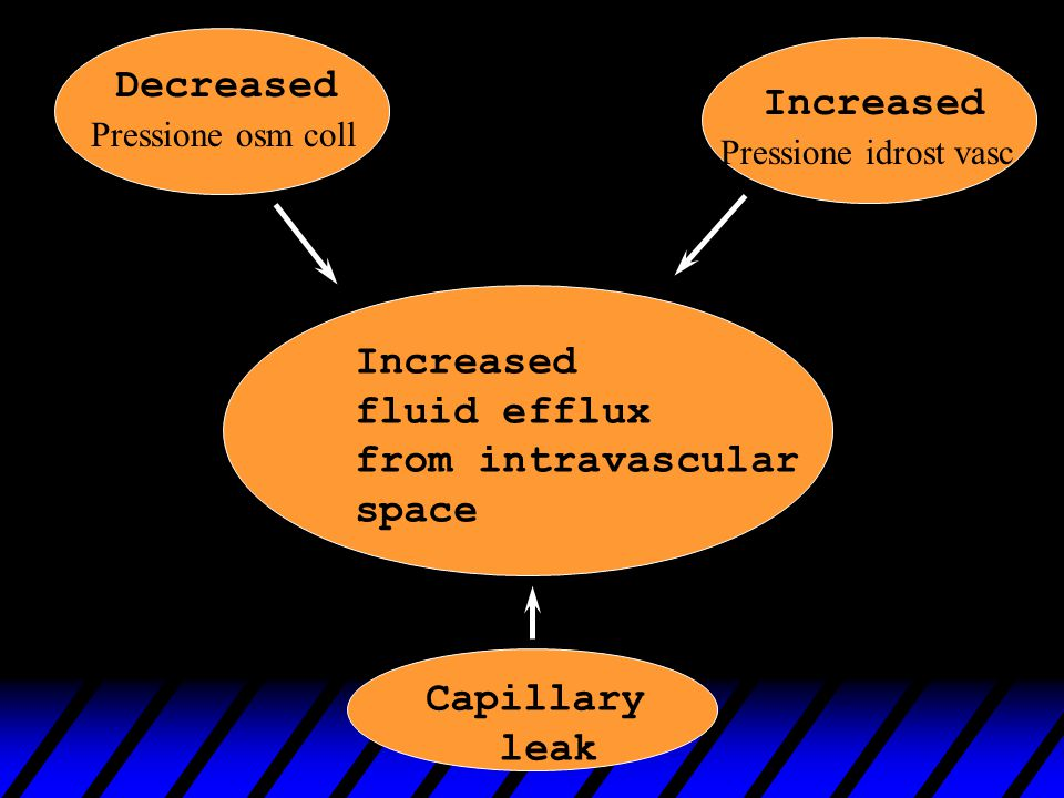 Decreased Increased Capillary leak Increased fluid efflux from intravascular space Pressione osm coll Pressione idrost vasc