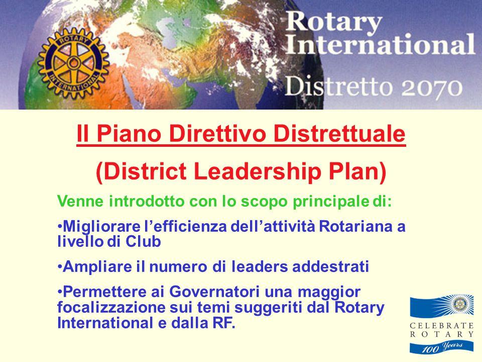 Il Piano Direttivo Distrettuale (District Leadership Plan) Venne introdotto con lo scopo principale di: Migliorare l'efficienza dell'attività Rotariana a livello di Club Ampliare il numero di leaders addestrati Permettere ai Governatori una maggior focalizzazione sui temi suggeriti dal Rotary International e dalla RF.