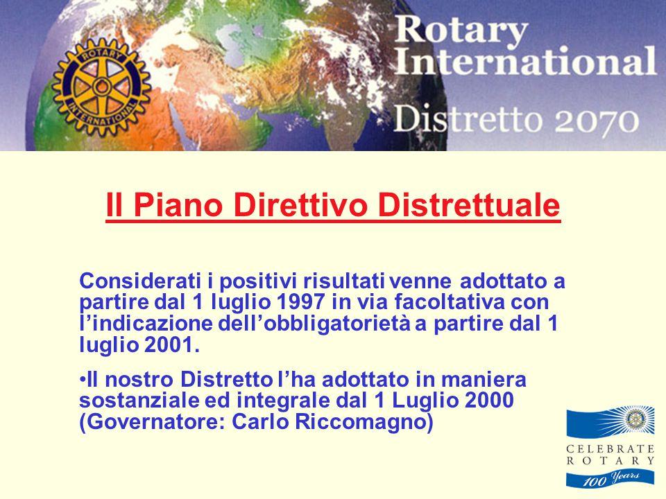 Il Piano Direttivo Distrettuale Considerati i positivi risultati venne adottato a partire dal 1 luglio 1997 in via facoltativa con l'indicazione dell'obbligatorietà a partire dal 1 luglio 2001.