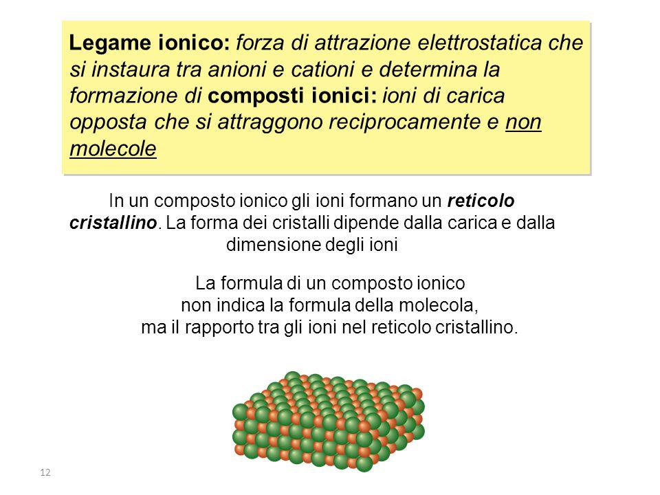 12 Legame ionico: forza di attrazione elettrostatica che si instaura tra anioni e cationi e determina la formazione di composti ionici: ioni di carica opposta che si attraggono reciprocamente e non molecole In un composto ionico gli ioni formano un reticolo cristallino.