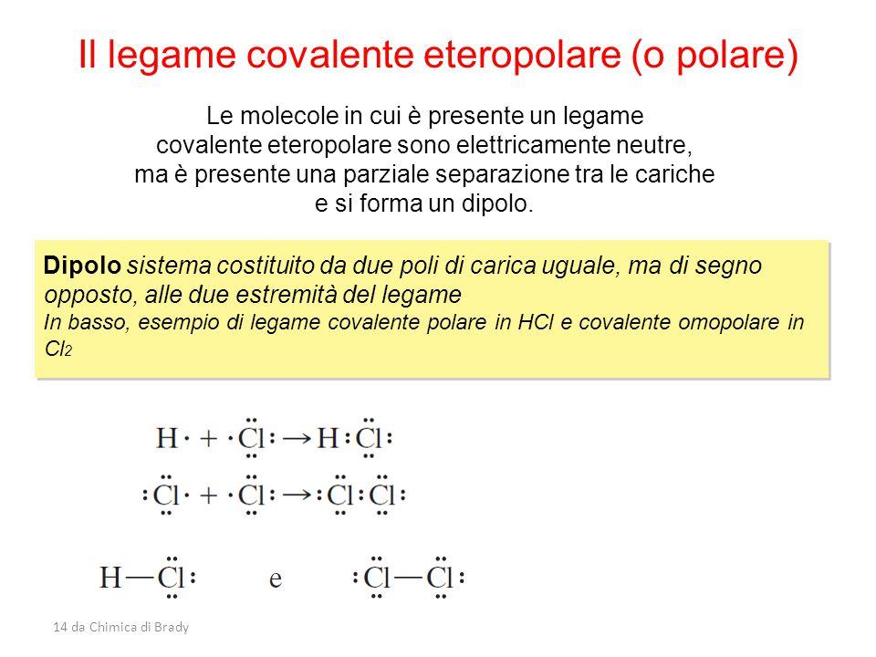 14 da Chimica di Brady Il legame covalente eteropolare (o polare) Le molecole in cui è presente un legame covalente eteropolare sono elettricamente neutre, ma è presente una parziale separazione tra le cariche e si forma un dipolo.