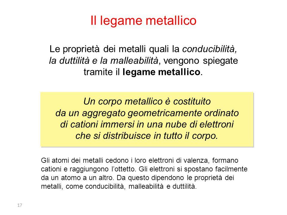 17 Il legame metallico Le proprietà dei metalli quali la conducibilità, la duttilità e la malleabilità, vengono spiegate tramite il legame metallico.