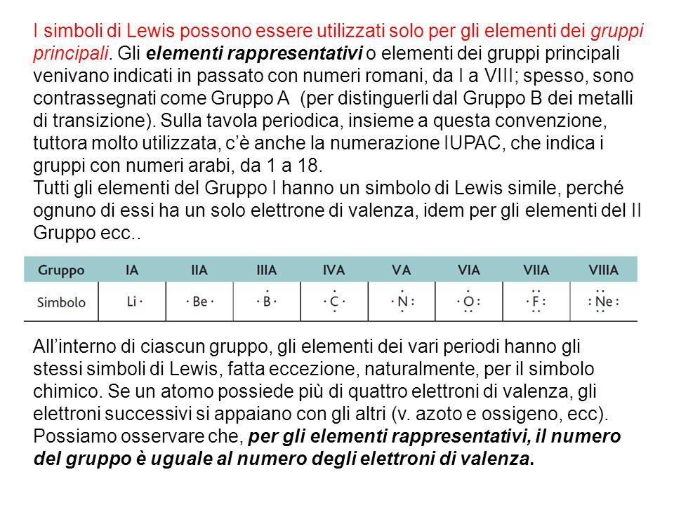 I simboli di Lewis possono essere utilizzati solo per gli elementi dei gruppi principali.