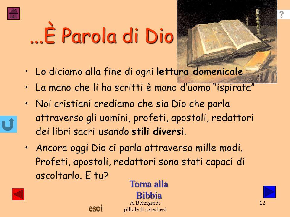 esci A.Belingardi pillole di catechesi 11 I profeti Sono persone ispirate da Dio, che ne interpretano la volontà. Hanno, come Mosè, considerato l'ulti