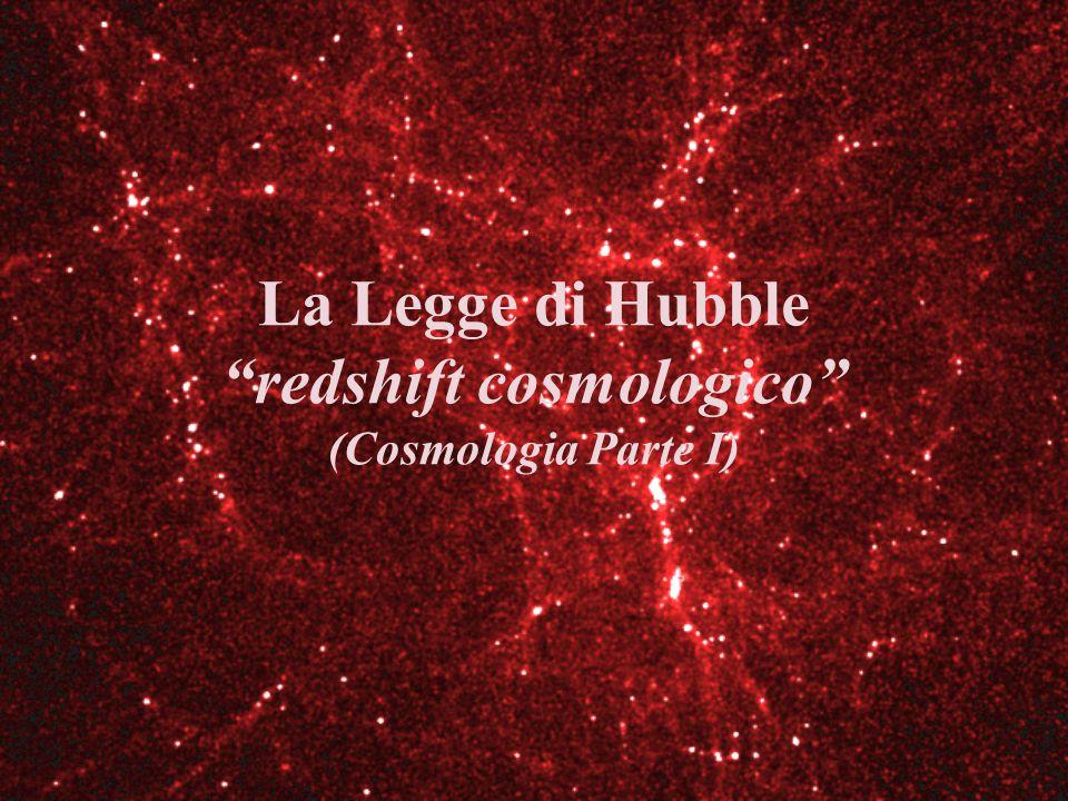 Il Redshift Nel 1929 Hubble scopre che la radiazione dello spettro delle galassie è spostata verso il rosso: redshift.