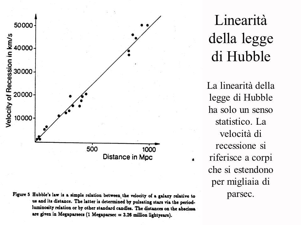 Linearità della legge di Hubble La linearità della legge di Hubble ha solo un senso statistico. La velocità di recessione si riferisce a corpi che si