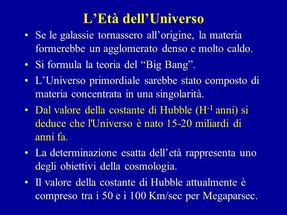 """L'Età dell'Universo Se le galassie tornassero all'origine, la materia formerebbe un agglomerato denso e molto caldo. Si formula la teoria del """"Big Ban"""