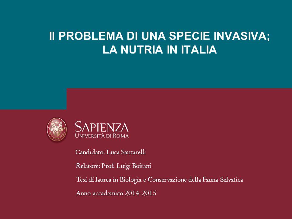 Candidato: Luca Santarelli Relatore: Prof. Luigi Boitani Tesi di laurea in Biologia e Conservazione della Fauna Selvatica Anno accademico 2014-2015 Il