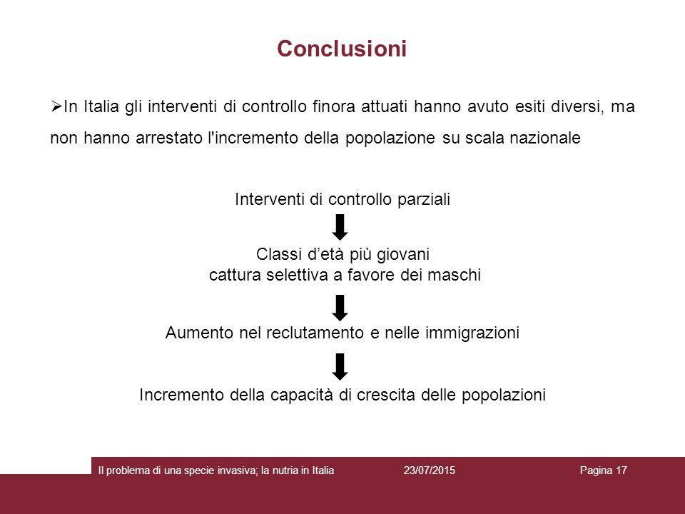 Conclusioni 23/07/2015 Il problema di una specie invasiva; la nutria in ItaliaPagina 17  In Italia gli interventi di controllo finora attuati hanno a