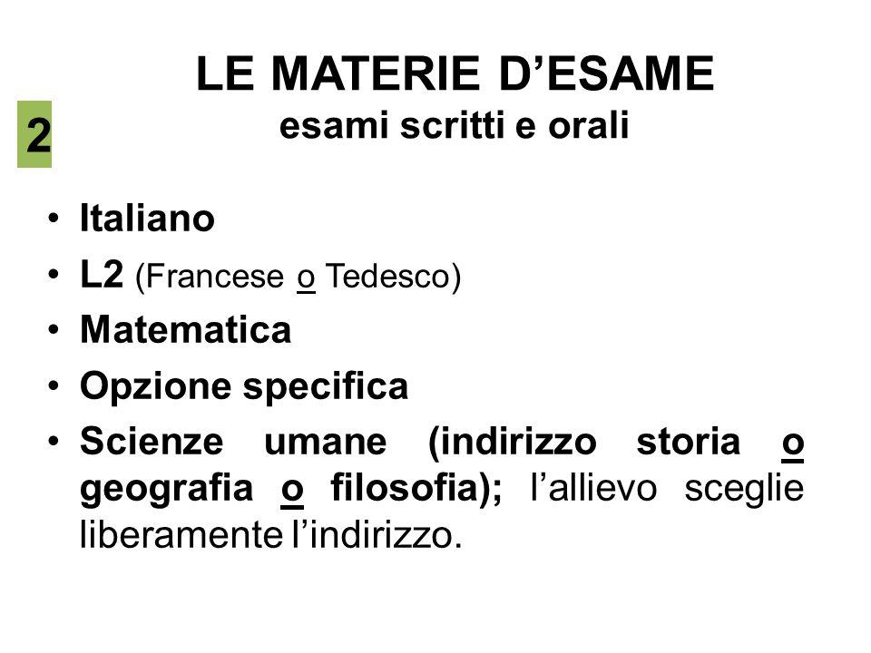LE MATERIE D'ESAME esami scritti e orali Italiano L2 (Francese o Tedesco) Matematica Opzione specifica Scienze umane (indirizzo storia o geografia o f