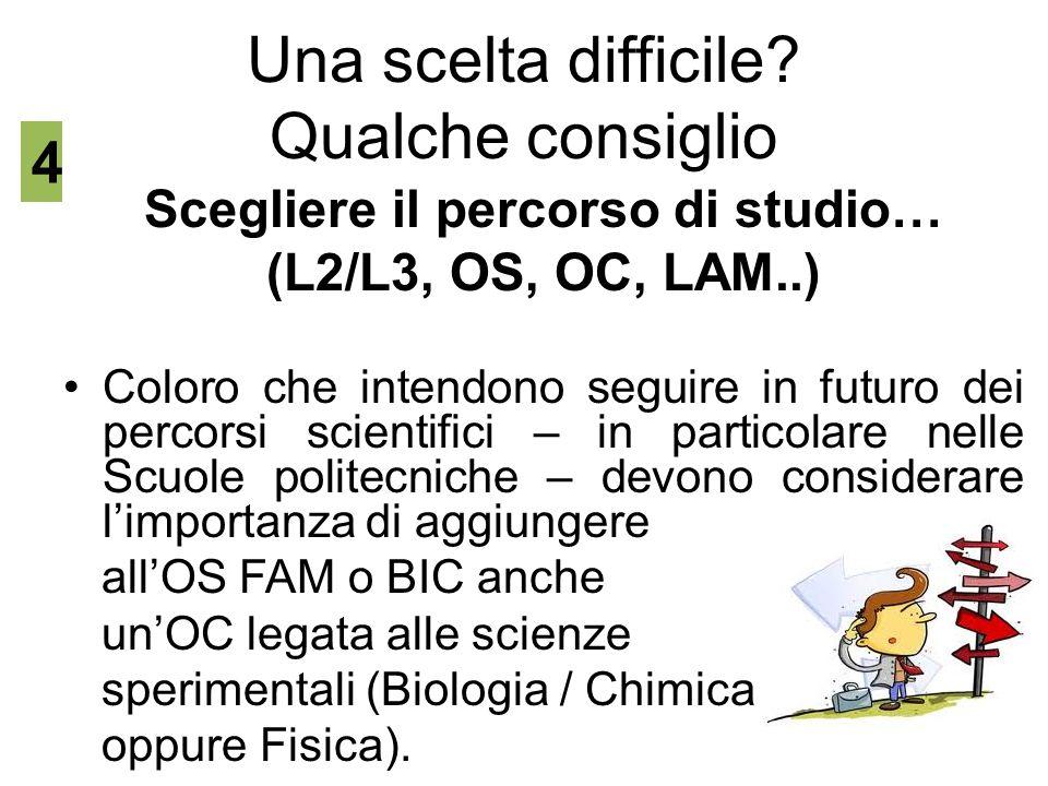 Una scelta difficile? Qualche consiglio Scegliere il percorso di studio… (L2/L3, OS, OC, LAM..) Coloro che intendono seguire in futuro dei percorsi sc