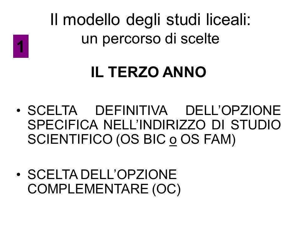 Il modello degli studi liceali: un percorso di scelte IL TERZO ANNO SCELTA DEFINITIVA DELL'OPZIONE SPECIFICA NELL'INDIRIZZO DI STUDIO SCIENTIFICO (OS