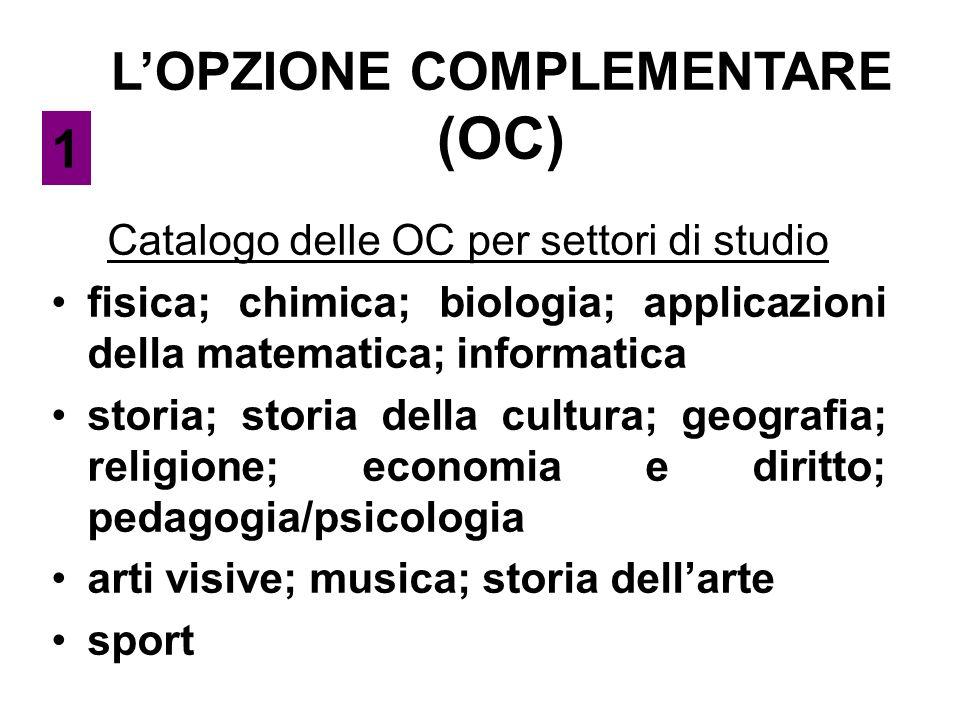 L'OPZIONE COMPLEMENTARE (OC) Catalogo delle OC per settori di studio fisica; chimica; biologia; applicazioni della matematica; informatica storia; sto