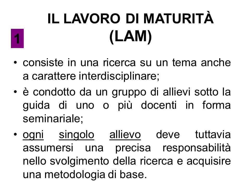 IL LAVORO DI MATURITÀ (LAM) consiste in una ricerca su un tema anche a carattere interdisciplinare; è condotto da un gruppo di allievi sotto la guida