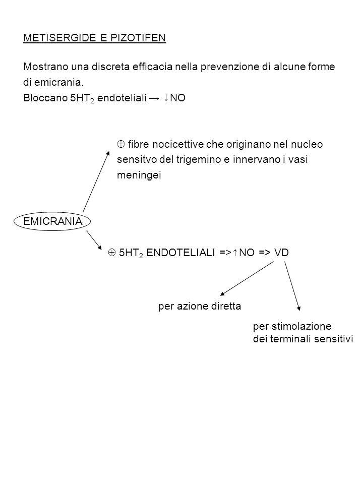 METISERGIDE E PIZOTIFEN Mostrano una discreta efficacia nella prevenzione di alcune forme di emicrania. Bloccano 5HT 2 endoteliali → ↓NO  fibre nocic