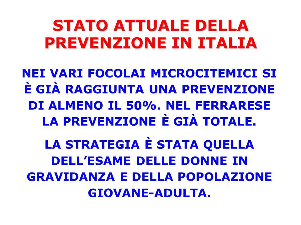 STATO ATTUALE DELLA PREVENZIONE IN ITALIA NEI VARI FOCOLAI MICROCITEMICI SI È GIÀ RAGGIUNTA UNA PREVENZIONE DI ALMENO IL 50%. NEL FERRARESE LA PREVENZ