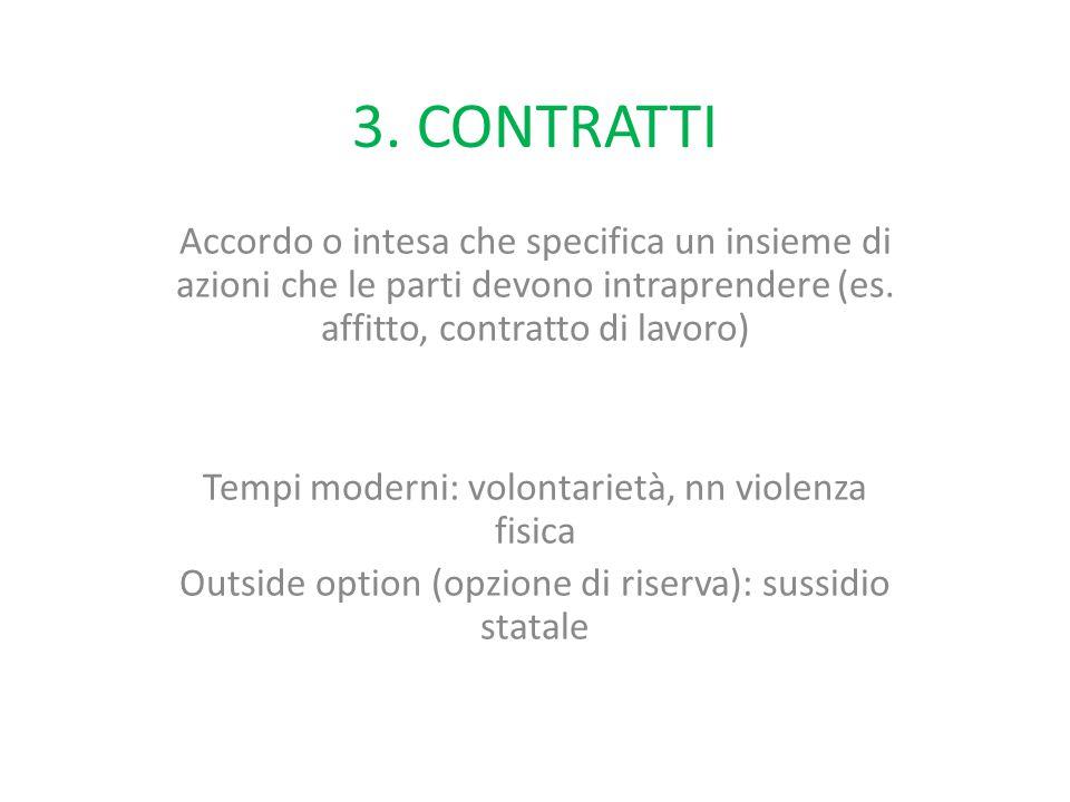 3. CONTRATTI Accordo o intesa che specifica un insieme di azioni che le parti devono intraprendere (es. affitto, contratto di lavoro) Tempi moderni: v