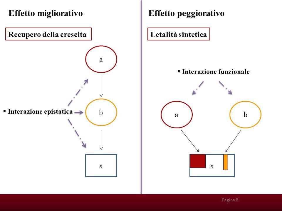 x b a Pagina 8 Recupero della crescitaLetalità sintetica  Interazione epistatica ab x  Interazione funzionale Effetto migliorativoEffetto peggiorati