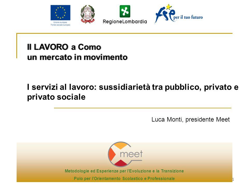 1 Luca Monti, presidente Meet Il LAVORO a ComoIl LAVORO a Como un mercato in movimentoun mercato in movimento I servizi al lavoro: sussidiarietà tra p