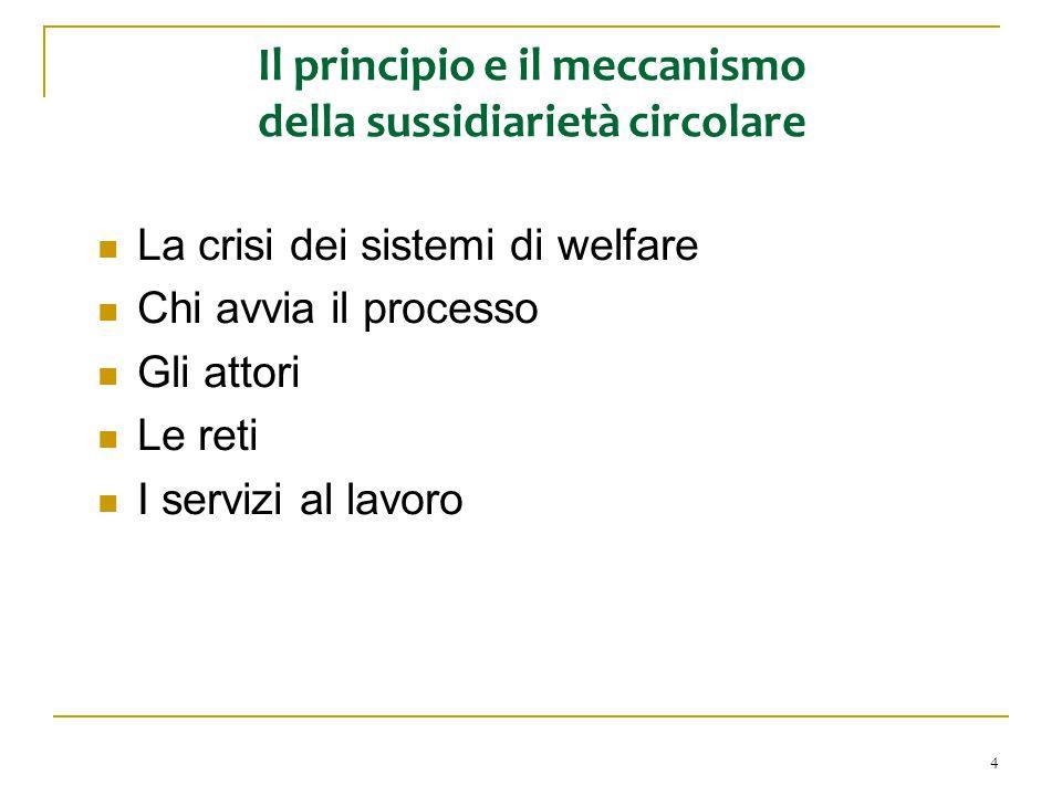 4 Il principio e il meccanismo della sussidiarietà circolare La crisi dei sistemi di welfare Chi avvia il processo Gli attori Le reti I servizi al lav