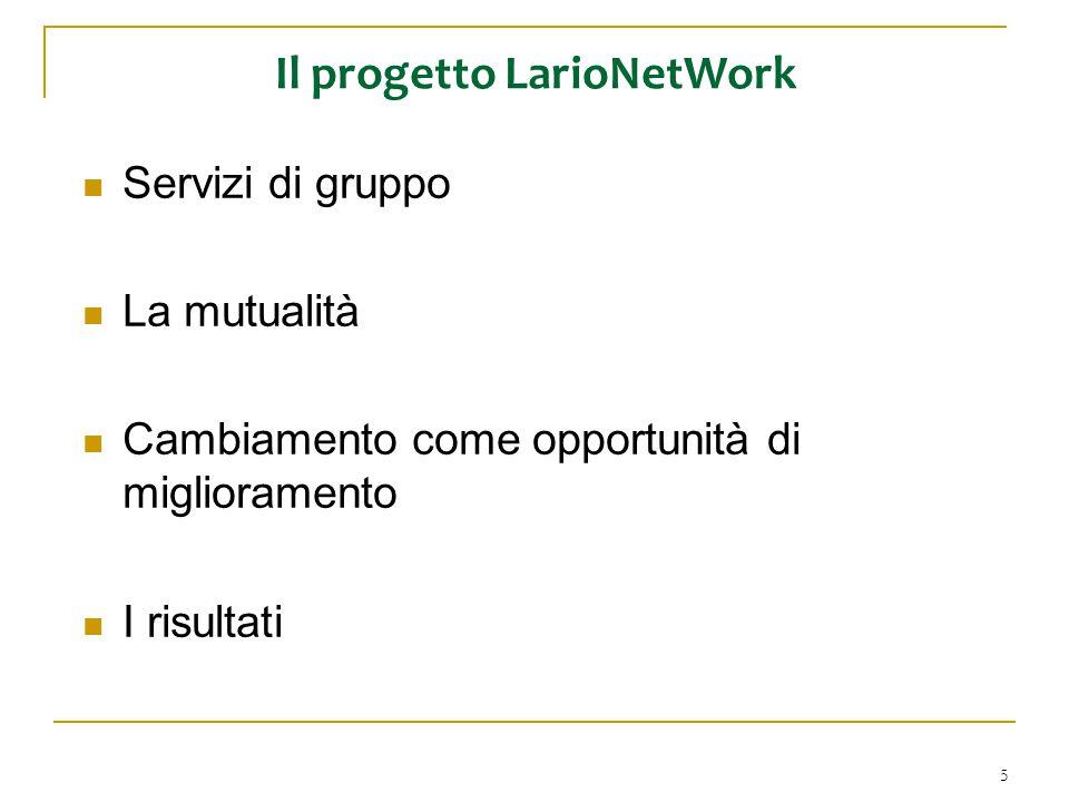 5 Il progetto LarioNetWork Servizi di gruppo La mutualità Cambiamento come opportunità di miglioramento I risultati