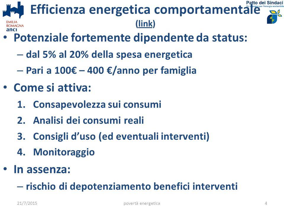 Efficienza energetica comportamentale (link)link Potenziale fortemente dipendente da status: – dal 5% al 20% della spesa energetica – Pari a 100€ – 400 €/anno per famiglia Come si attiva: 1.Consapevolezza sui consumi 2.Analisi dei consumi reali 3.Consigli d'uso (ed eventuali interventi) 4.Monitoraggio In assenza: – rischio di depotenziamento benefici interventi 21/7/2015povertà energetica4
