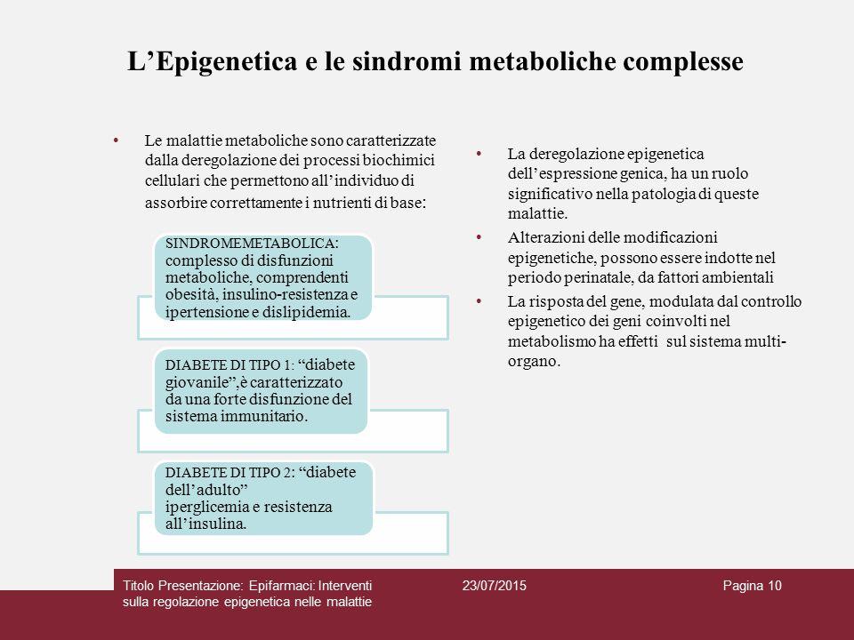 L'Epigenetica e le sindromi metaboliche complesse La deregolazione epigenetica dell'espressione genica, ha un ruolo significativo nella patologia di q