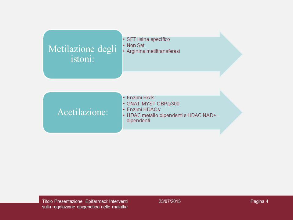 23/07/2015Titolo Presentazione: Epifarmaci: Interventi sulla regolazione epigenetica nelle malattie Pagina 4 SET lisina-specifico Non Set Arginina met