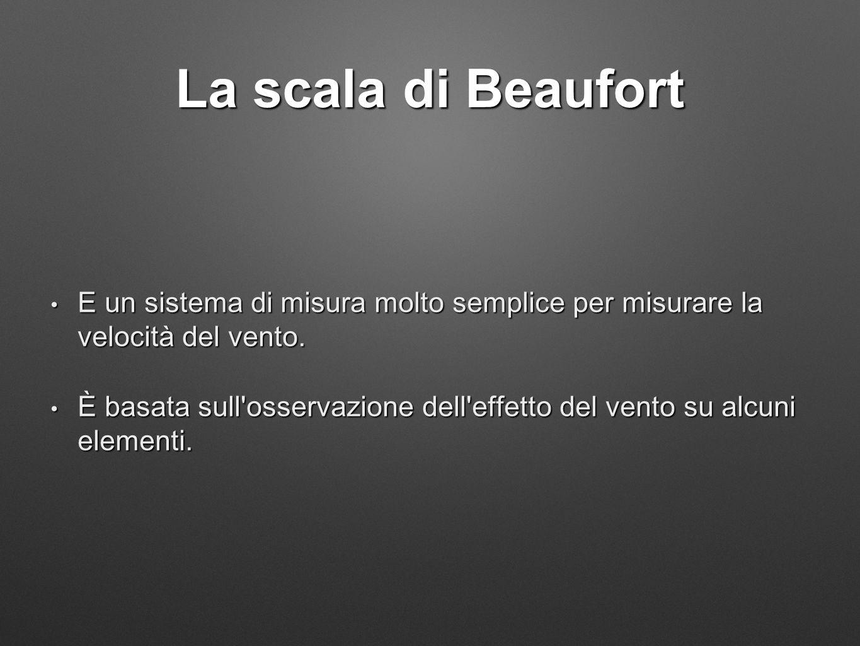 La scala di Beaufort E un sistema di misura molto semplice per misurare la velocità del vento. E un sistema di misura molto semplice per misurare la v