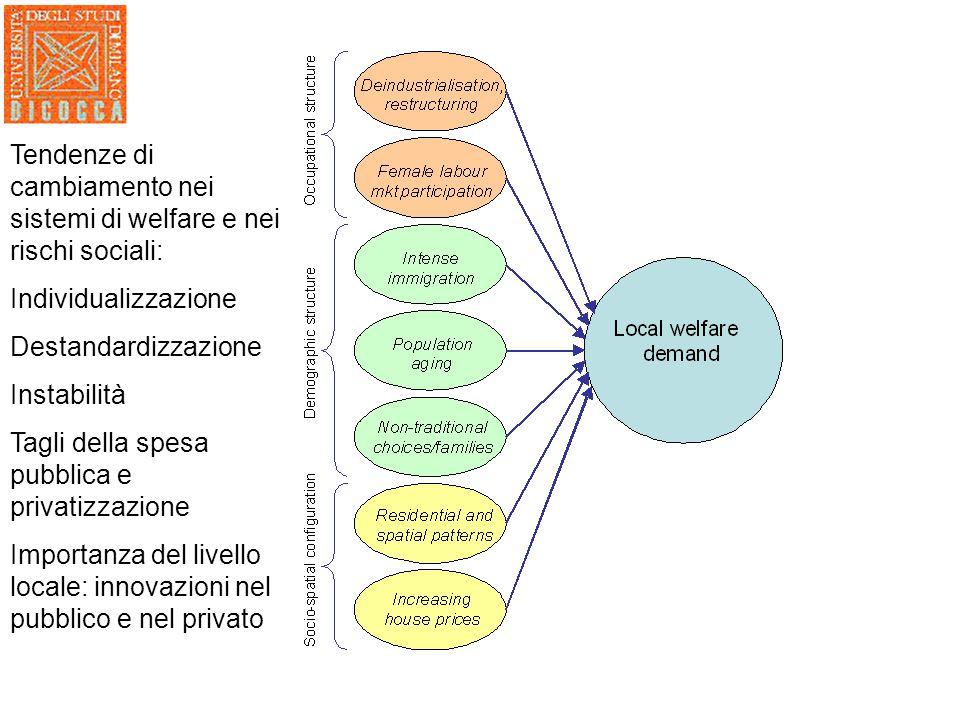 Tendenze di cambiamento nei sistemi di welfare e nei rischi sociali: Individualizzazione Destandardizzazione Instabilità Tagli della spesa pubblica e privatizzazione Importanza del livello locale: innovazioni nel pubblico e nel privato
