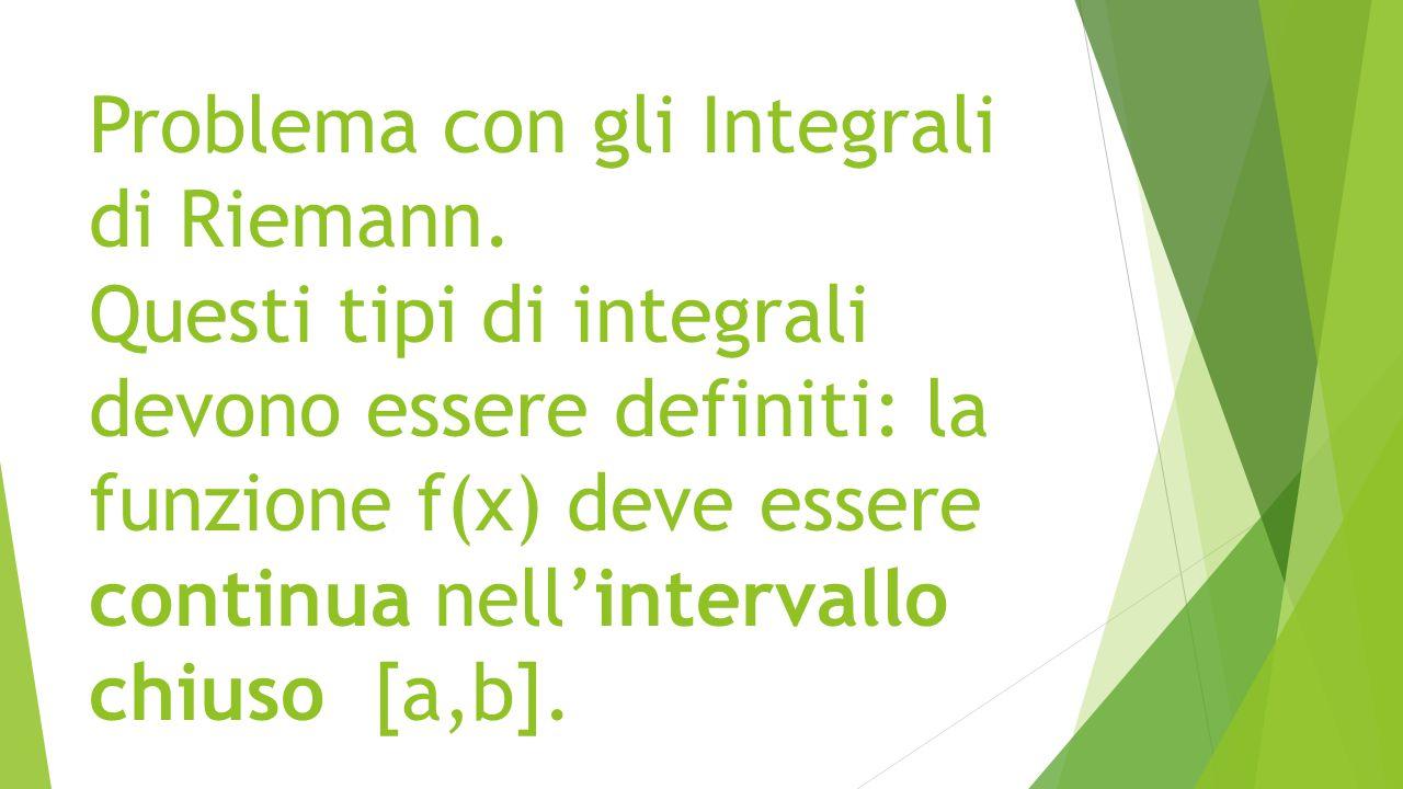 Problema con gli Integrali di Riemann. Questi tipi di integrali devono essere definiti: la funzione f(x) deve essere continua nell'intervallo chiuso [