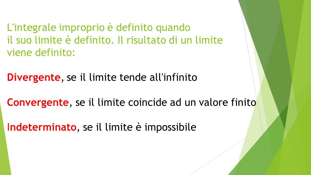 L'integrale improprio è definito quando il suo limite è definito. Il risultato di un limite viene definito: Divergente, se il limite tende all'infinit