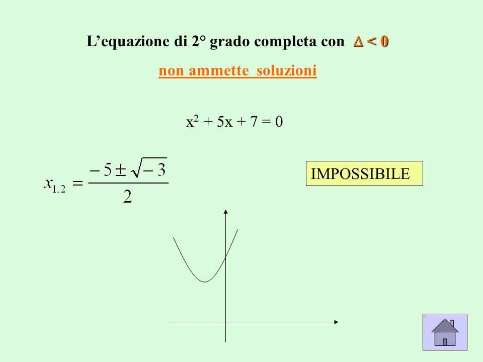 x 2 + 5x + 7 = 0 IMPOSSIBILE  < 0 L'equazione di 2° grado completa con  < 0 non ammette soluzioni