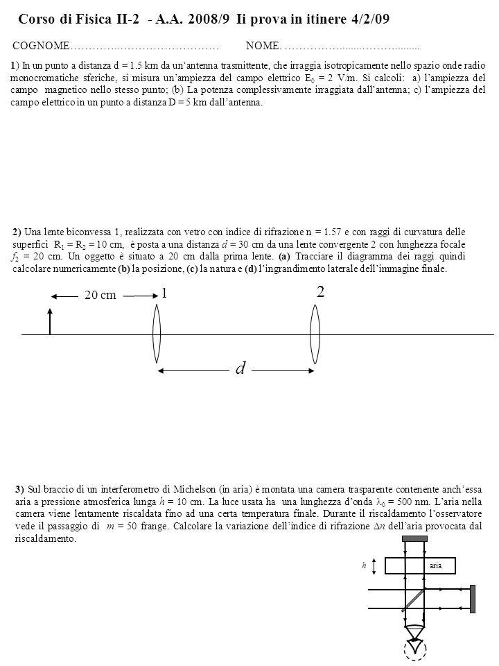 Corso di Fisica II-2 - A.A. 2008/9 Ii prova in itinere 4/2/09 COGNOME…………..……………………… NOME.