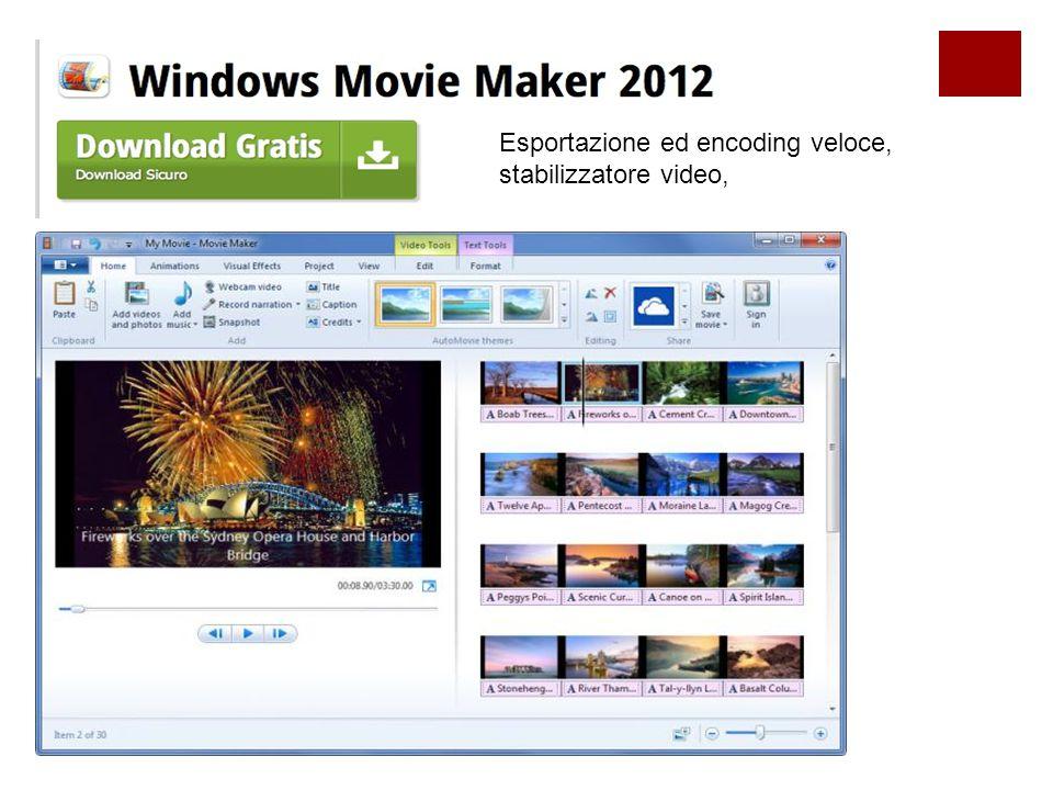 Esportazione ed encoding veloce, stabilizzatore video,