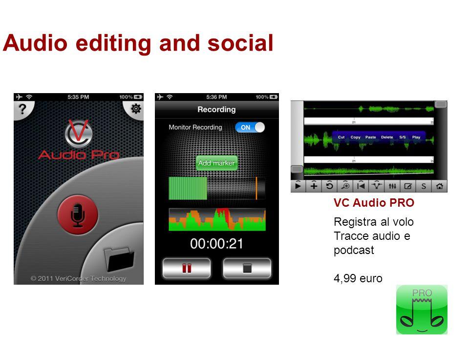 Audio editing and social VC Audio PRO Registra al volo Tracce audio e podcast 4,99 euro