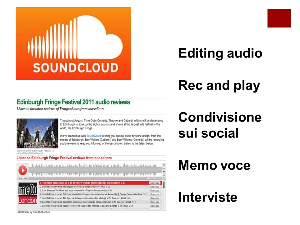 Editing audio Rec and play Condivisione sui social Memo voce Interviste