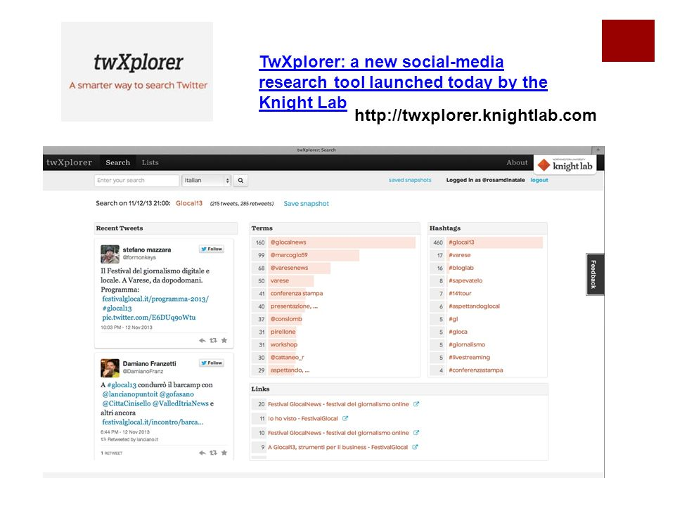 TwXplorer: a new social-media research tool launched today by the Knight Lab http://twxplorer.knightlab.com