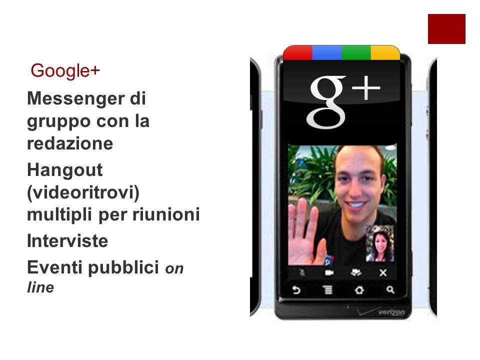 Google+ Messenger di gruppo con la redazione Hangout (videoritrovi) multipli per riunioni Interviste Eventi pubblici on line